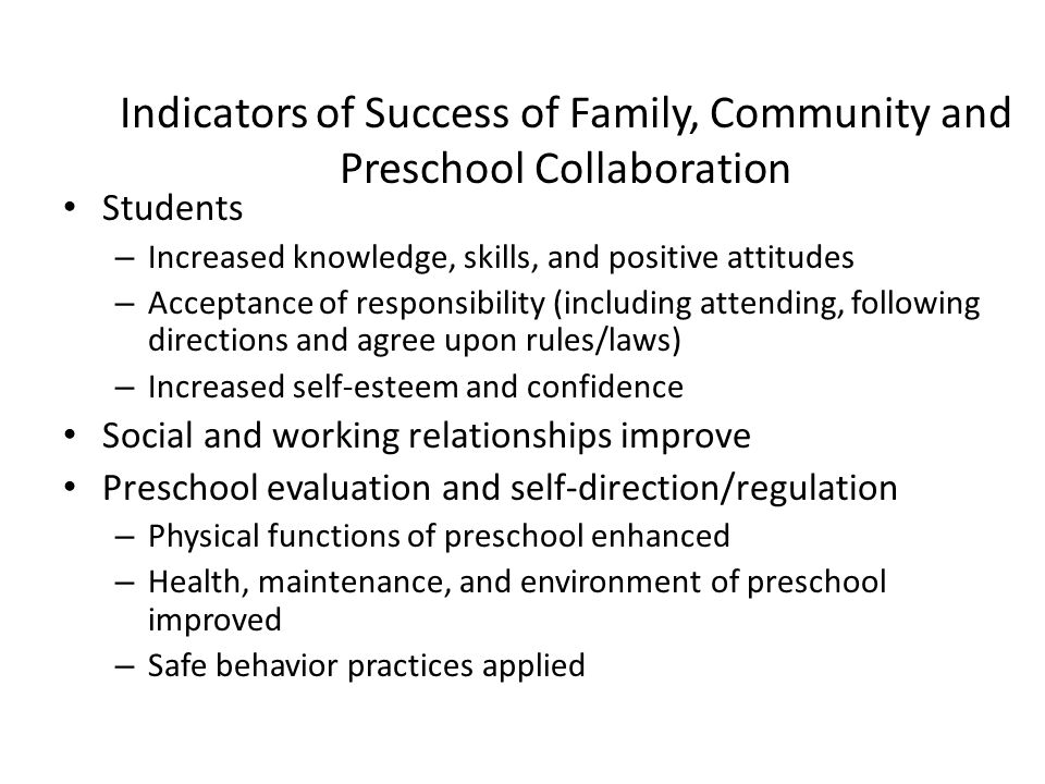 Indicators of Success of Family, Community and Preschool Collaboration