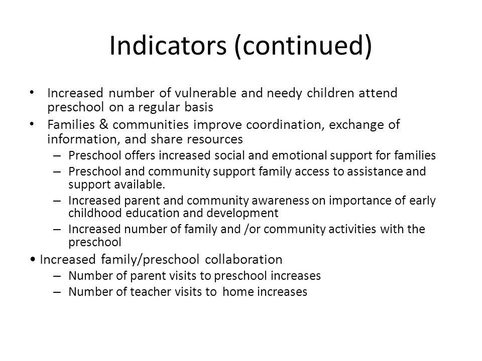 Indicators (continued)