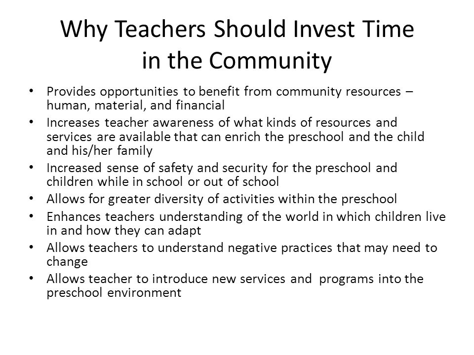 Why Teachers Should Invest Time in the Community