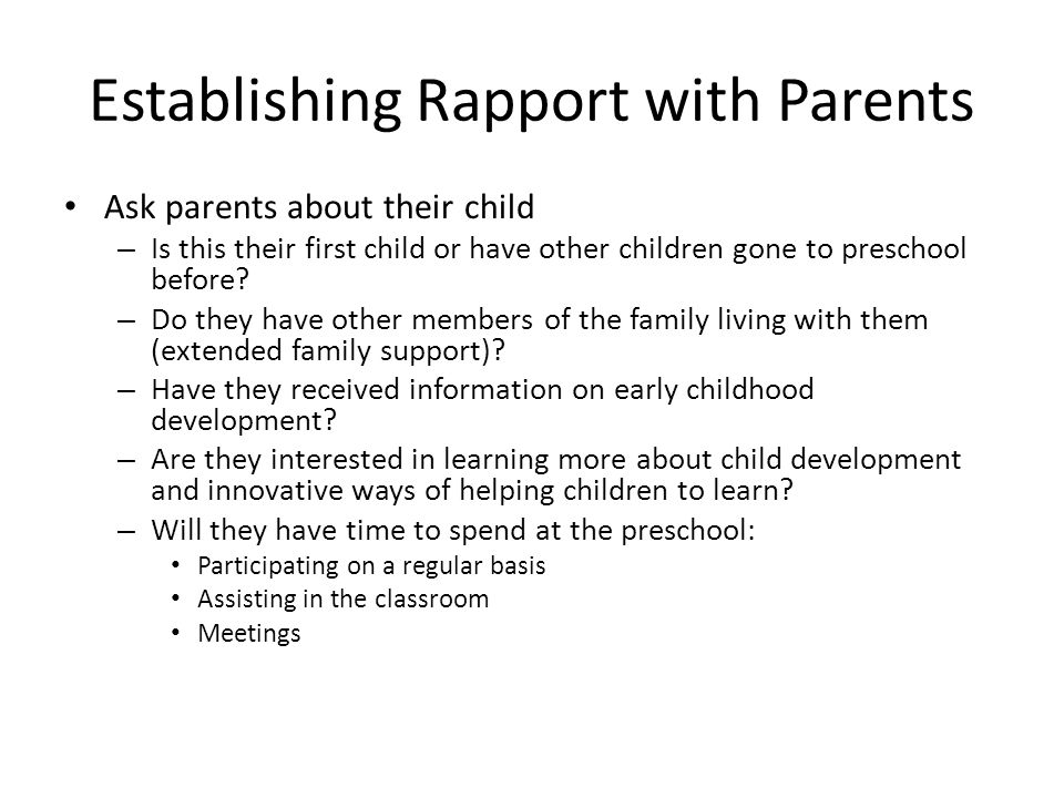 Establishing Rapport with Parents