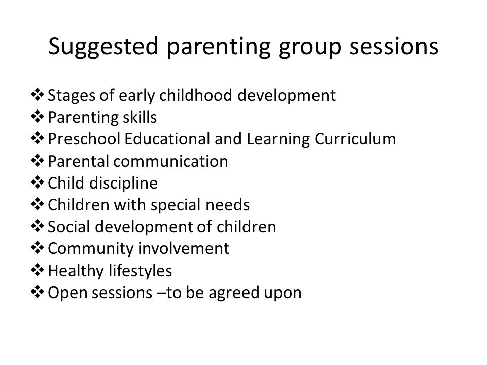 Suggested parenting group sessions