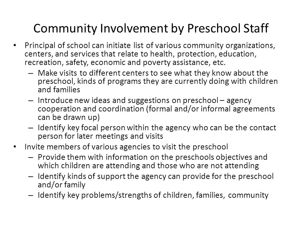 Community Involvement by Preschool Staff