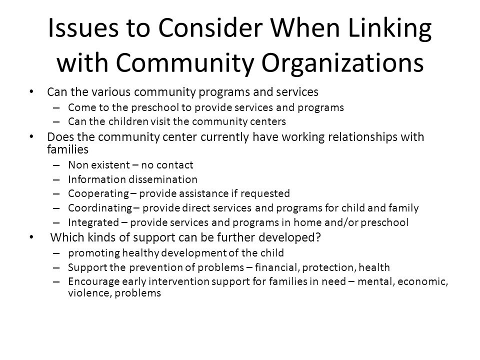 Issues to Consider When Linking with Community Organizations