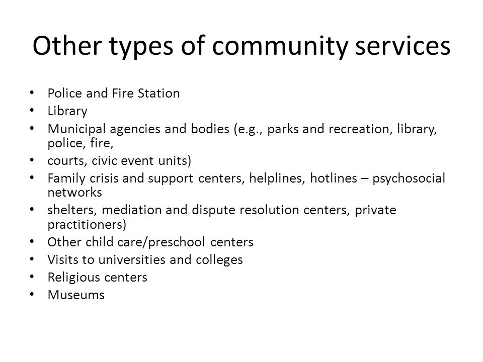 Other types of community services