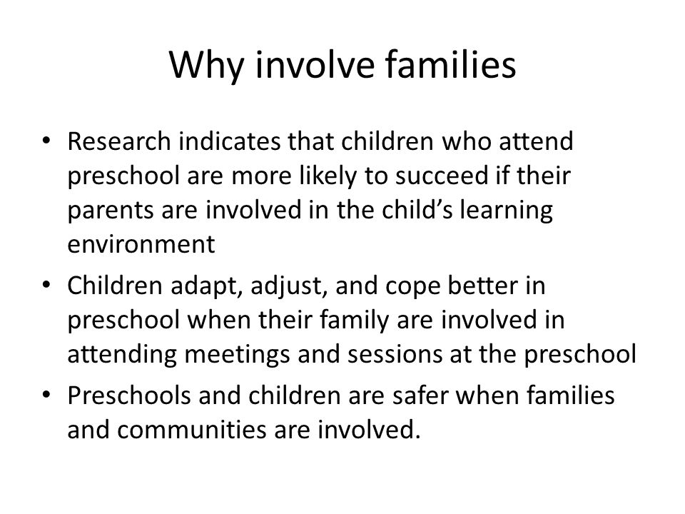 Why involve families