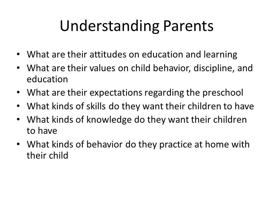 Understanding Parents
