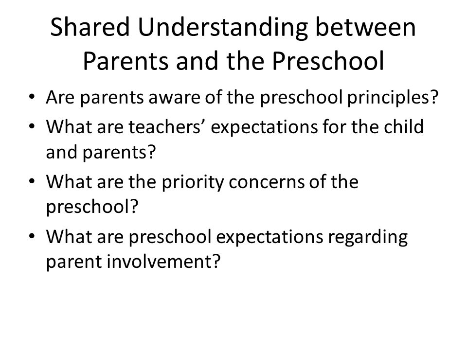 Shared Understanding between Parents and the Preschool
