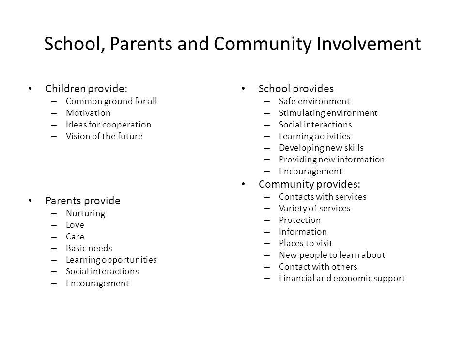 School, Parents and Community Involvement