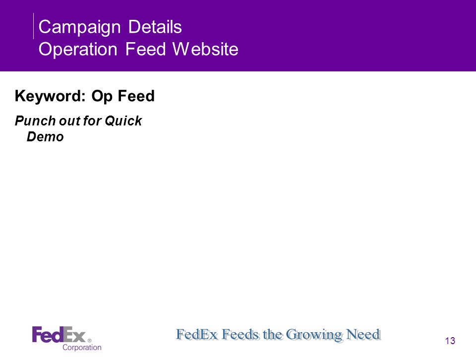 Campaign Details Operation Feed Website