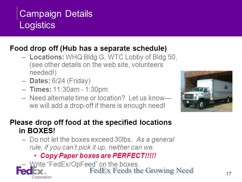 Campaign Details Logistics