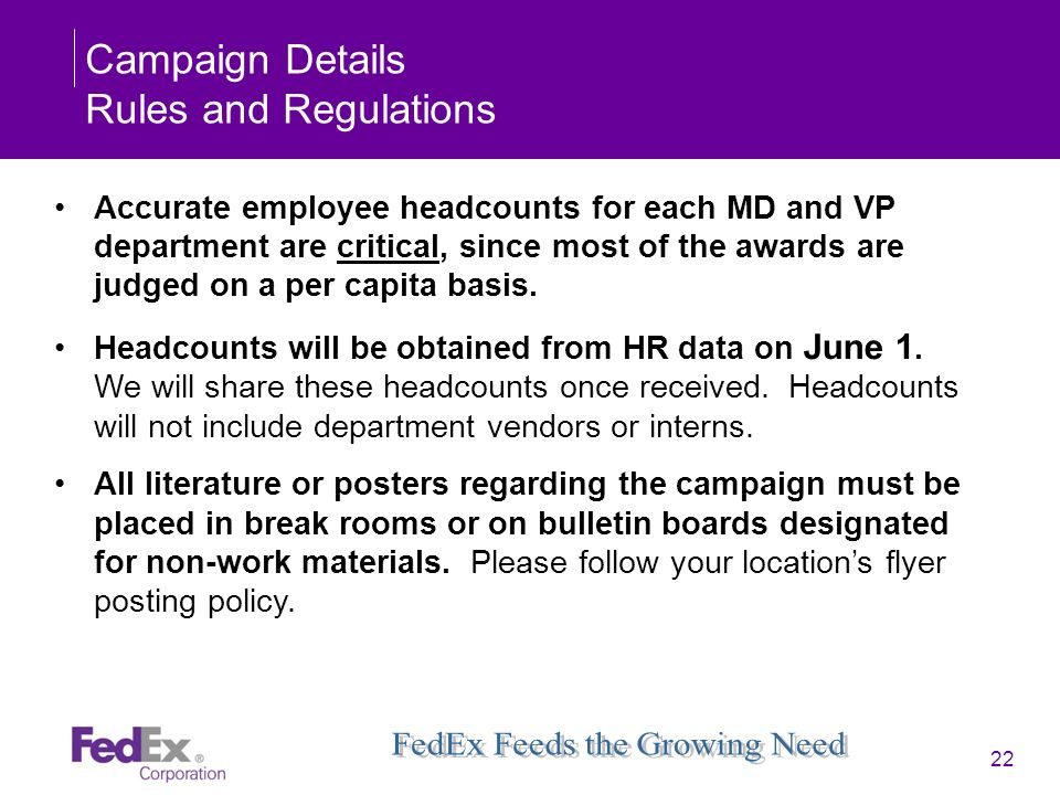Campaign Details Rules and Regulations