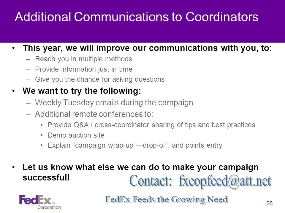 Additional Communications to Coordinators