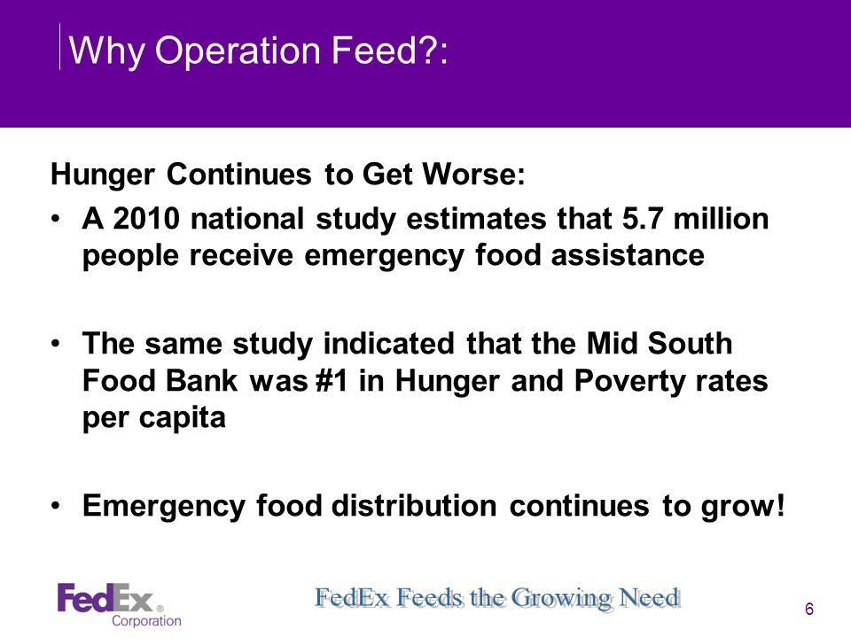 Why Operation Feed : Hunger Continues to Get Worse: