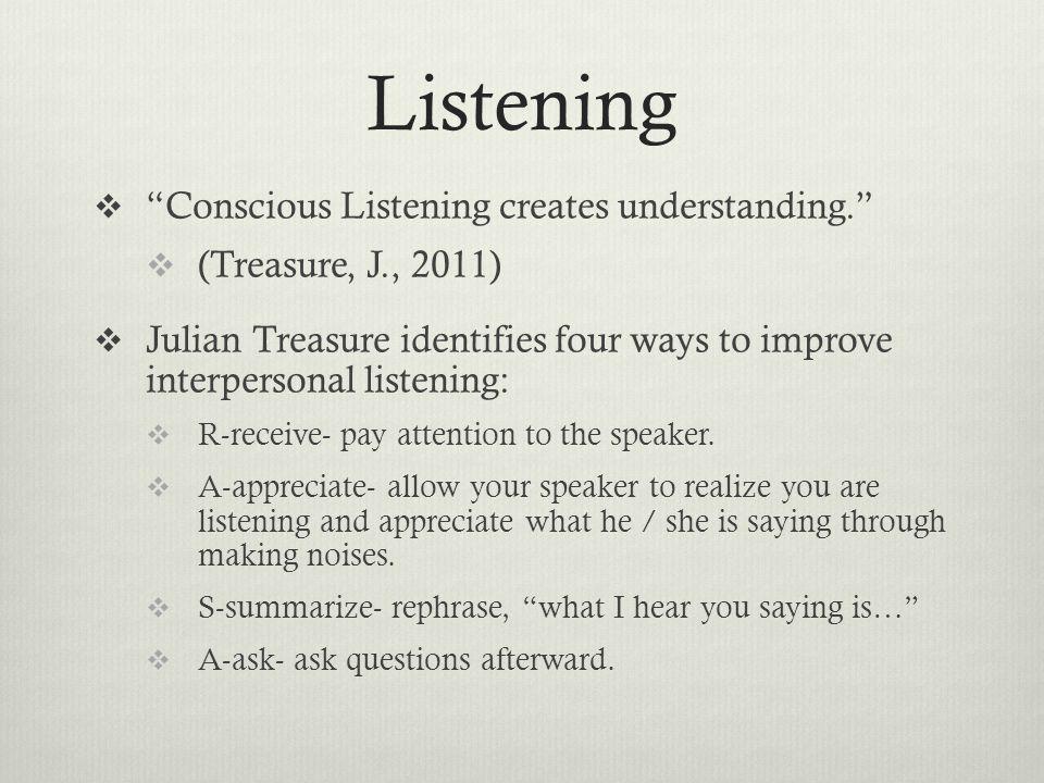 Listening Conscious Listening creates understanding.