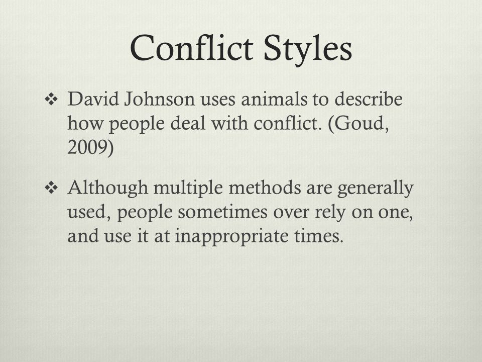 Conflict Styles David Johnson uses animals to describe how people deal with conflict. (Goud, 2009)