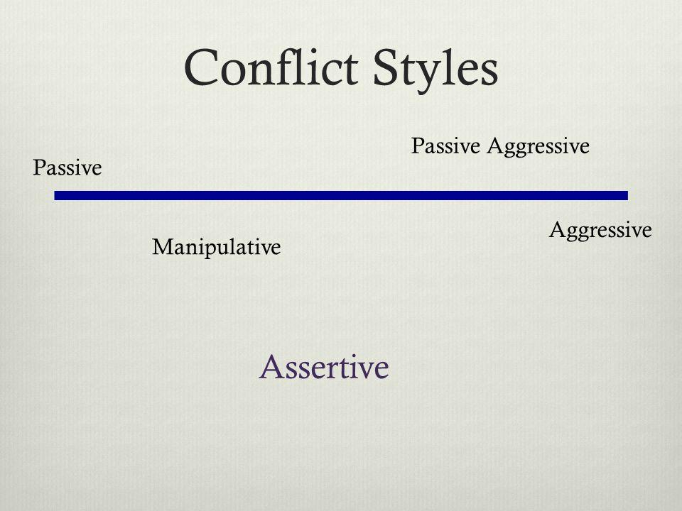 Conflict Styles Assertive Passive Aggressive Passive Aggressive