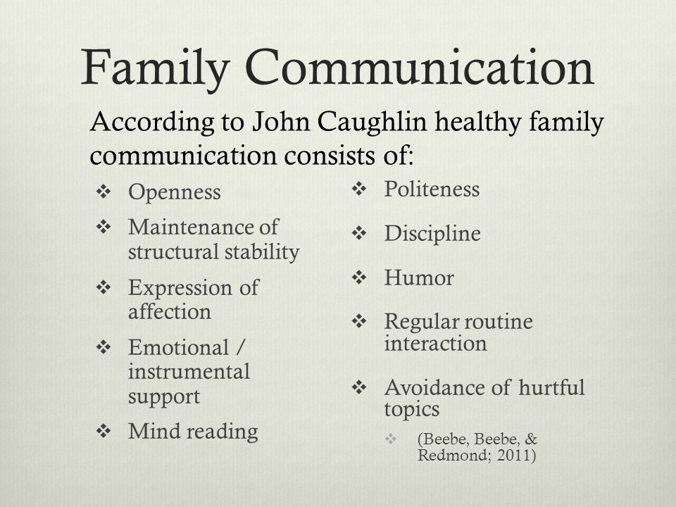 Family Communication According to John Caughlin healthy family communication consists of: Openness.