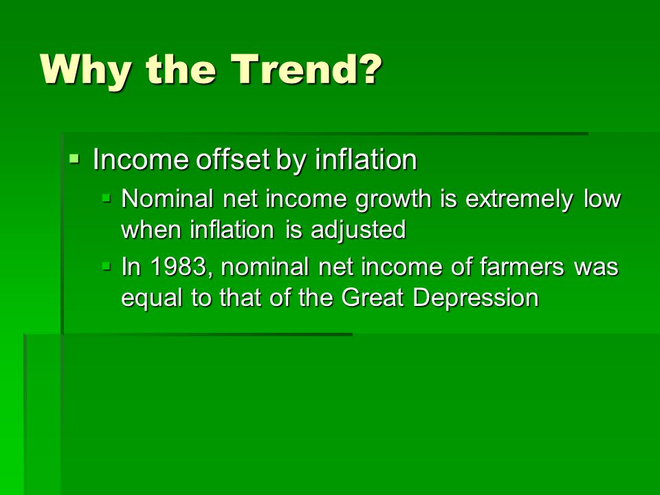 Why the Trend Income offset by inflation