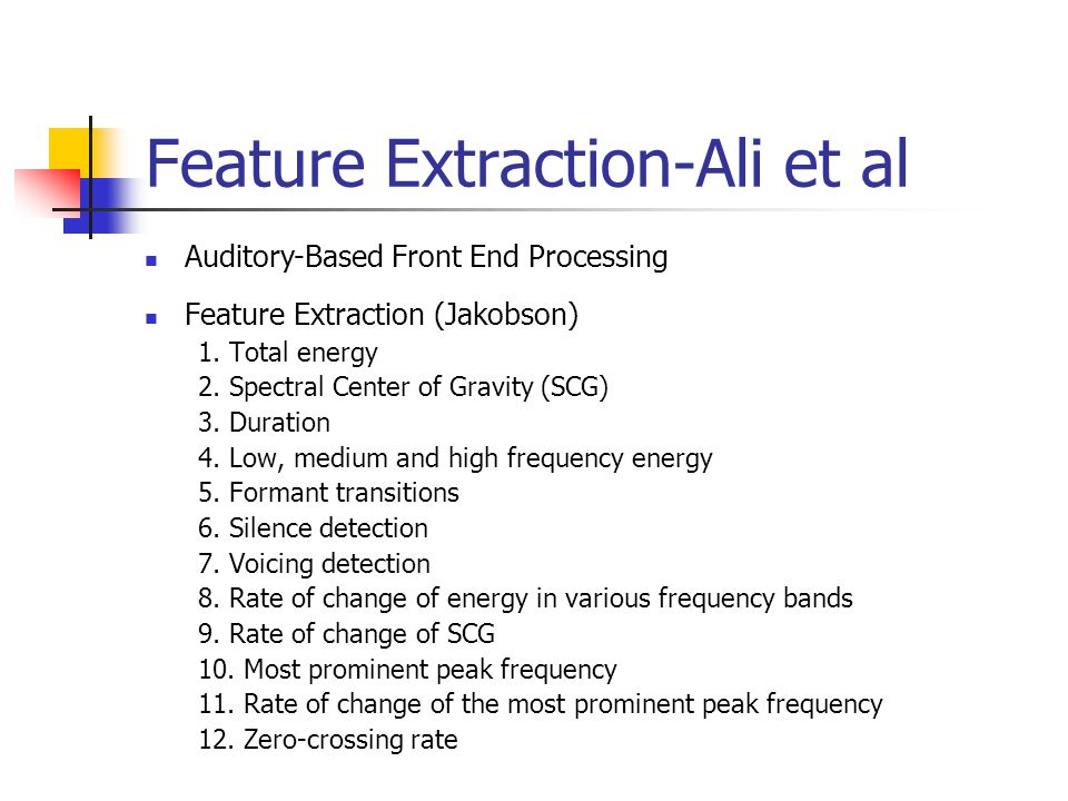 Feature Extraction-Ali et al