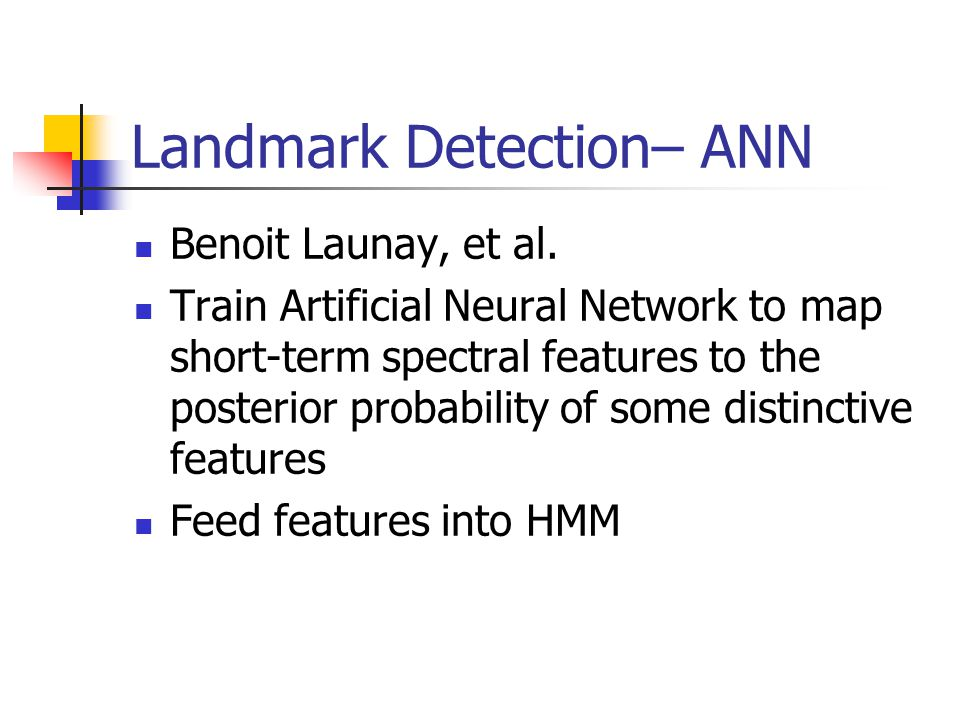 Landmark Detection– ANN