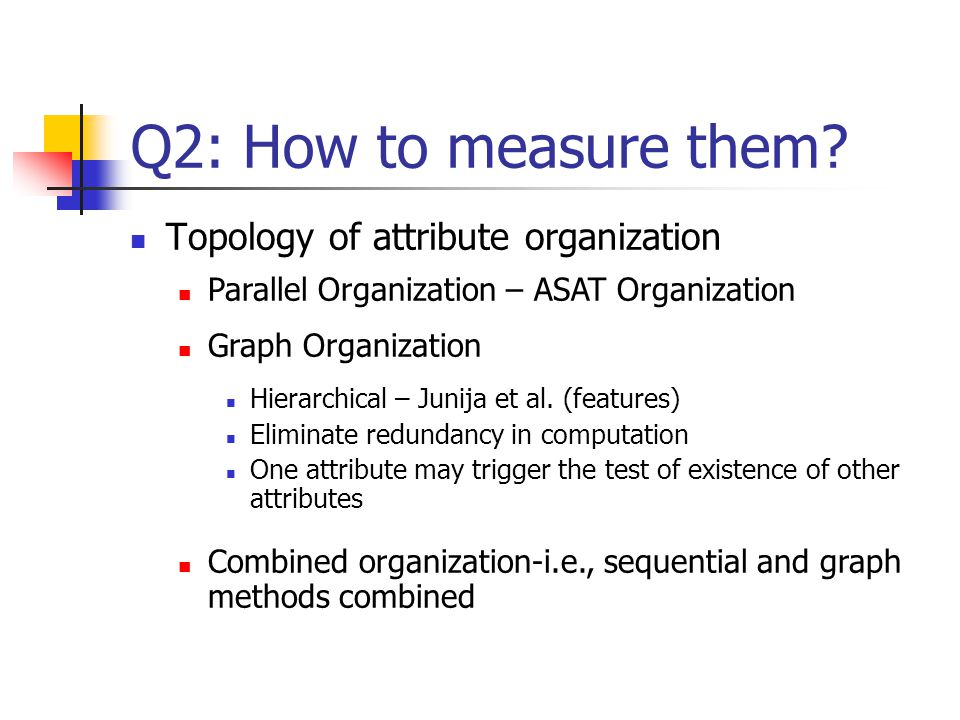 Q2: How to measure them Topology of attribute organization