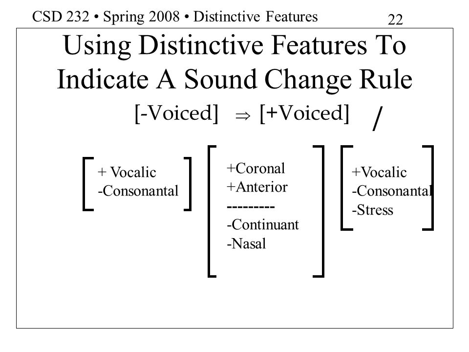 Using Distinctive Features To Indicate A Sound Change Rule