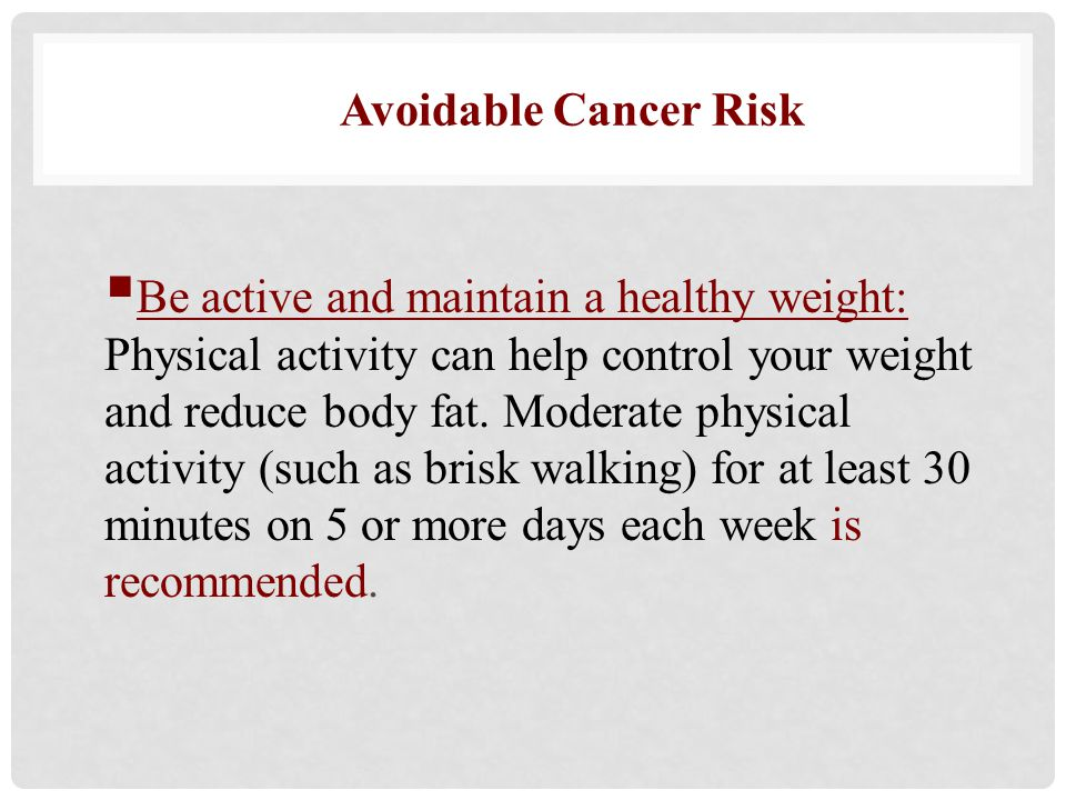 Avoidable Cancer Risk