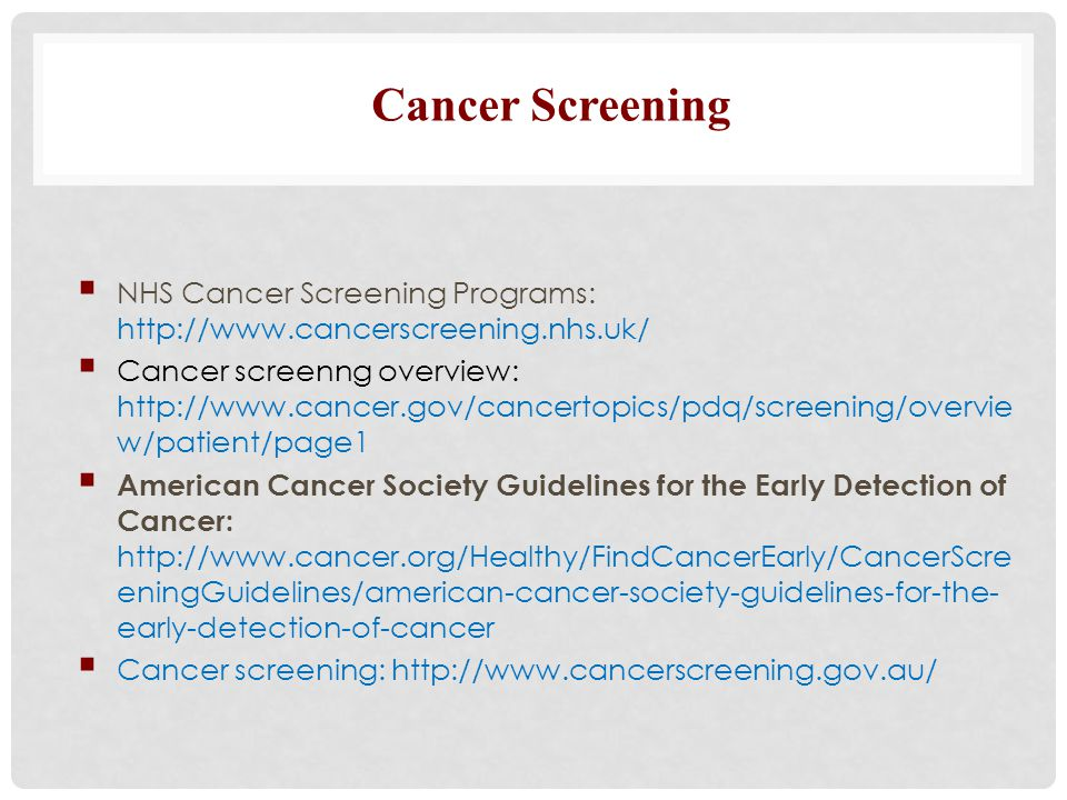 Cancer Screening NHS Cancer Screening Programs: http://www.cancerscreening.nhs.uk/