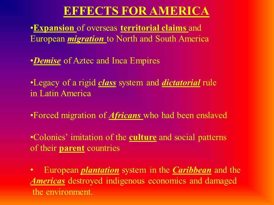 EFFECTS FOR AMERICA Expansion of overseas territorial claims and