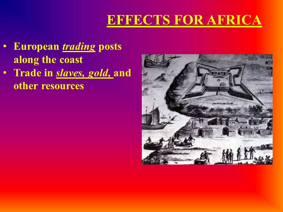 EFFECTS FOR AFRICA European trading posts along the coast