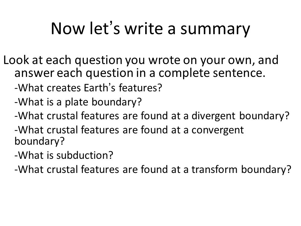 Now let's write a summary
