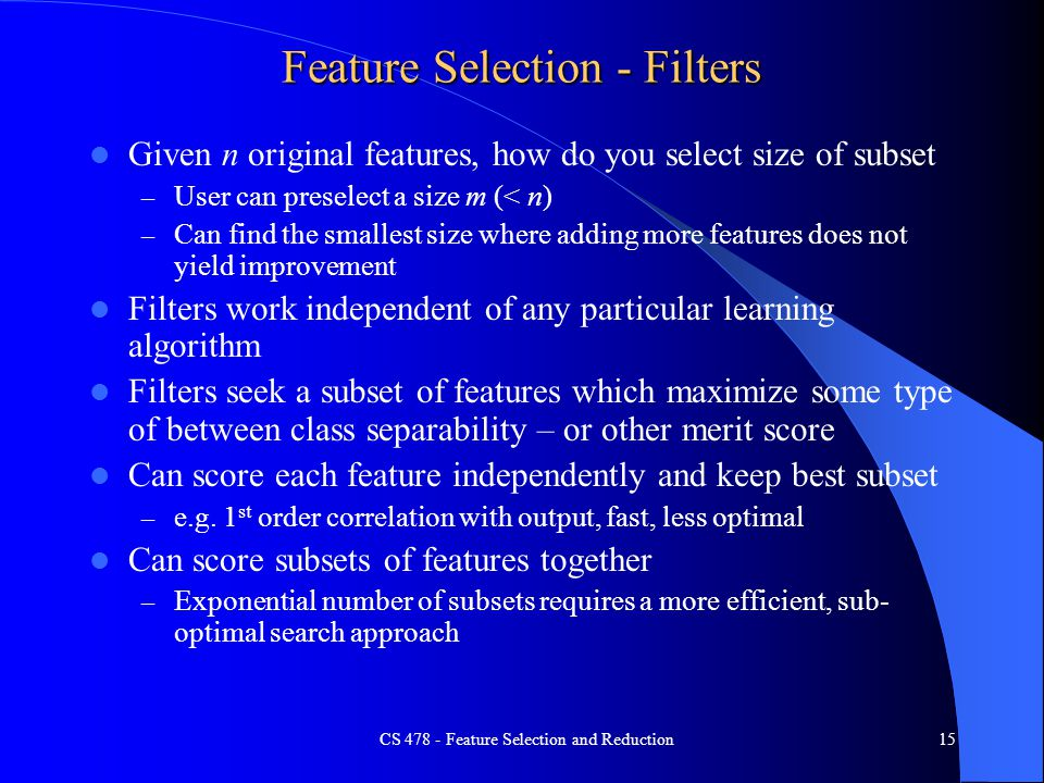 Feature Selection - Filters