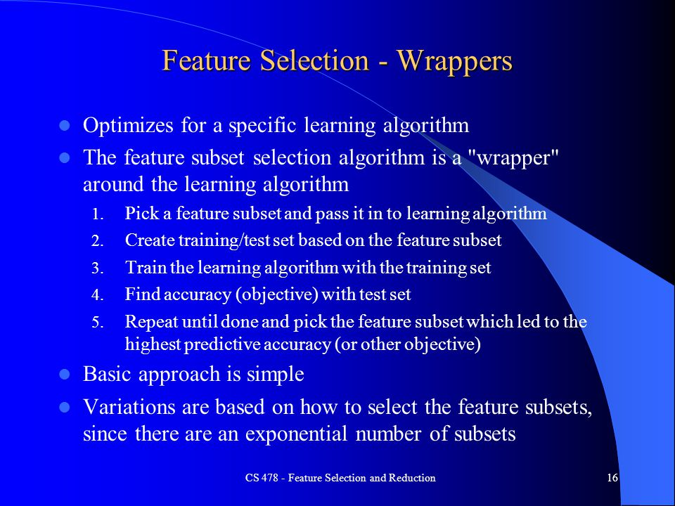 Feature Selection - Wrappers