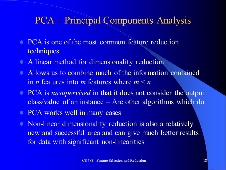 PCA – Principal Components Analysis