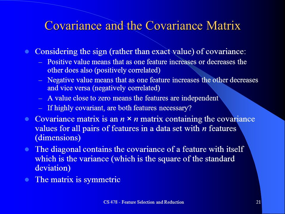 Covariance and the Covariance Matrix