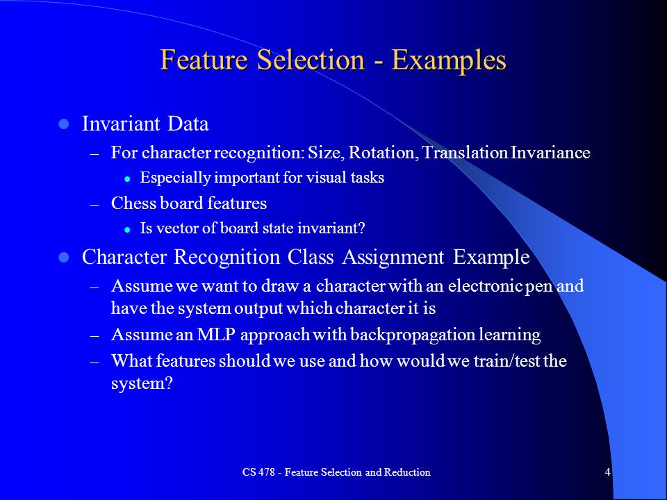 Feature Selection - Examples