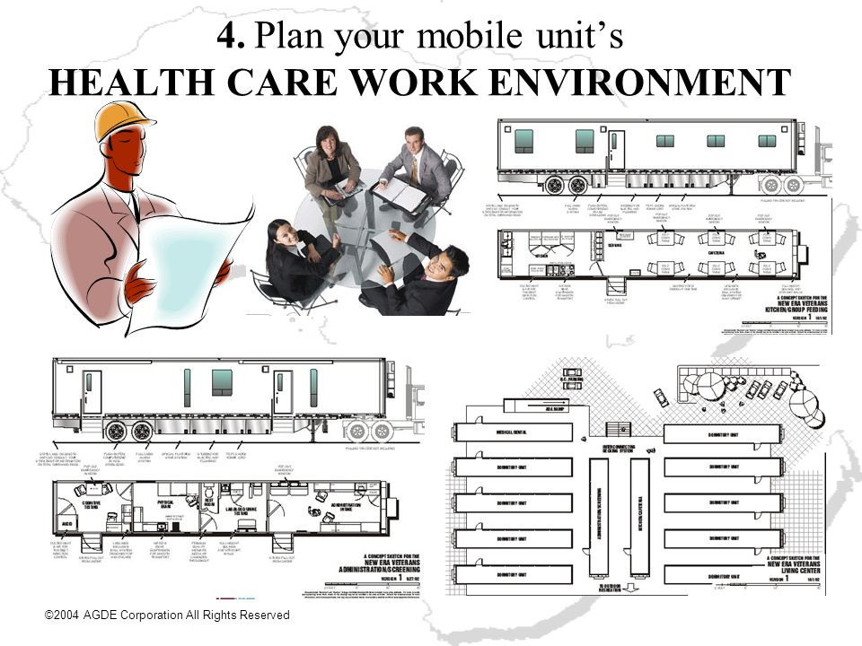 4. Plan your mobile unit's HEALTH CARE WORK ENVIRONMENT