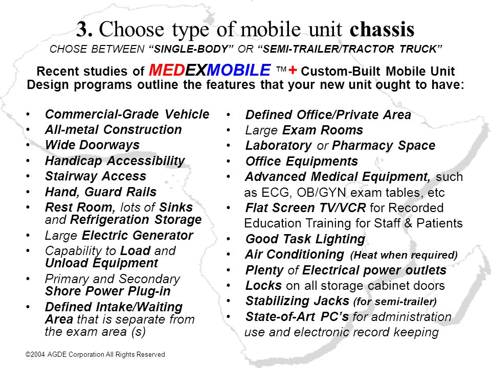 3. Choose type of mobile unit chassis CHOSE BETWEEN SINGLE-BODY OR SEMI-TRAILER/TRACTOR TRUCK