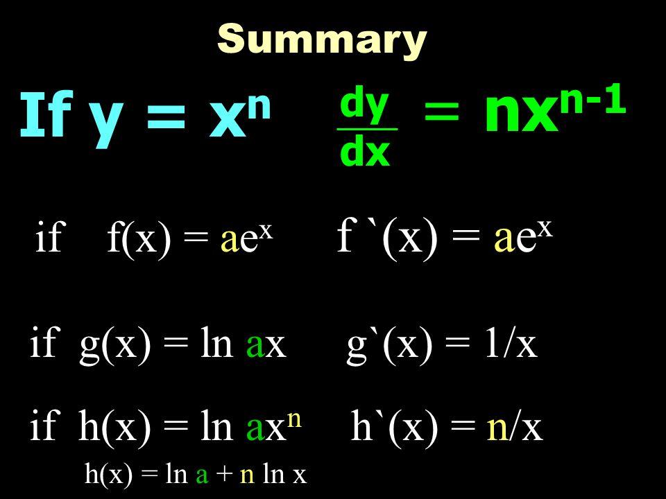 = nxn-1 If y = xn f `(x) = aex if f(x) = aex if g(x) = ln ax