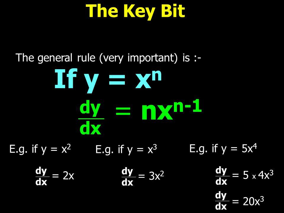 If y = xn = nxn-1 The Key Bit dy dx