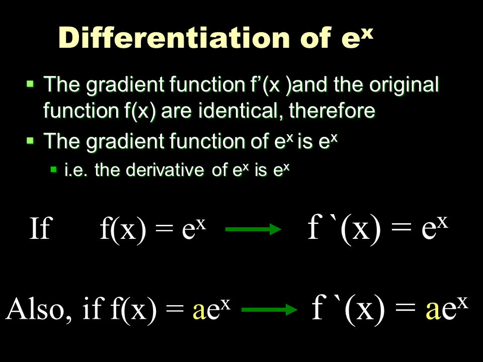 f `(x) = ex f `(x) = aex If f(x) = ex Also, if f(x) = aex