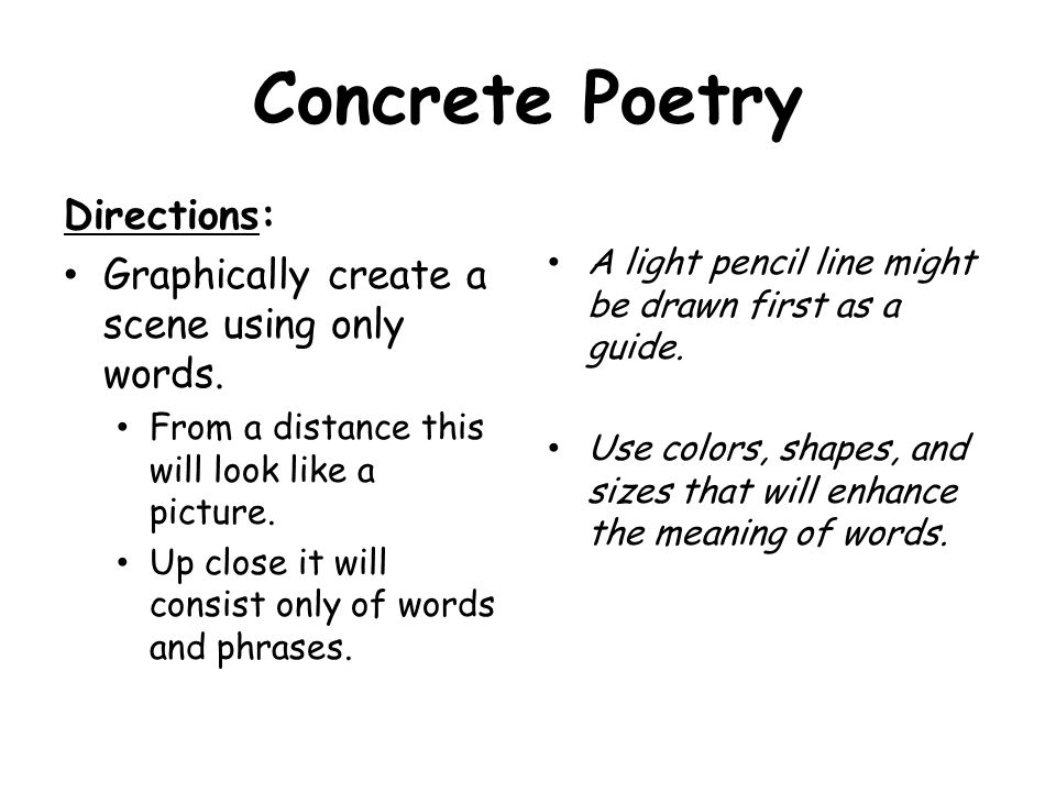 Concrete Poetry Directions: