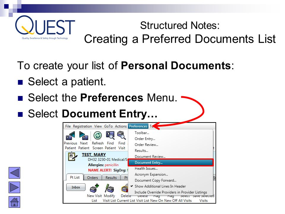 Creating a Preferred Documents List
