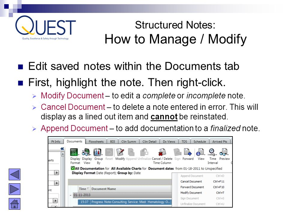 How to Manage / Modify Edit saved notes within the Documents tab