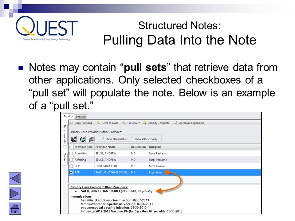 Pulling Data Into the Note