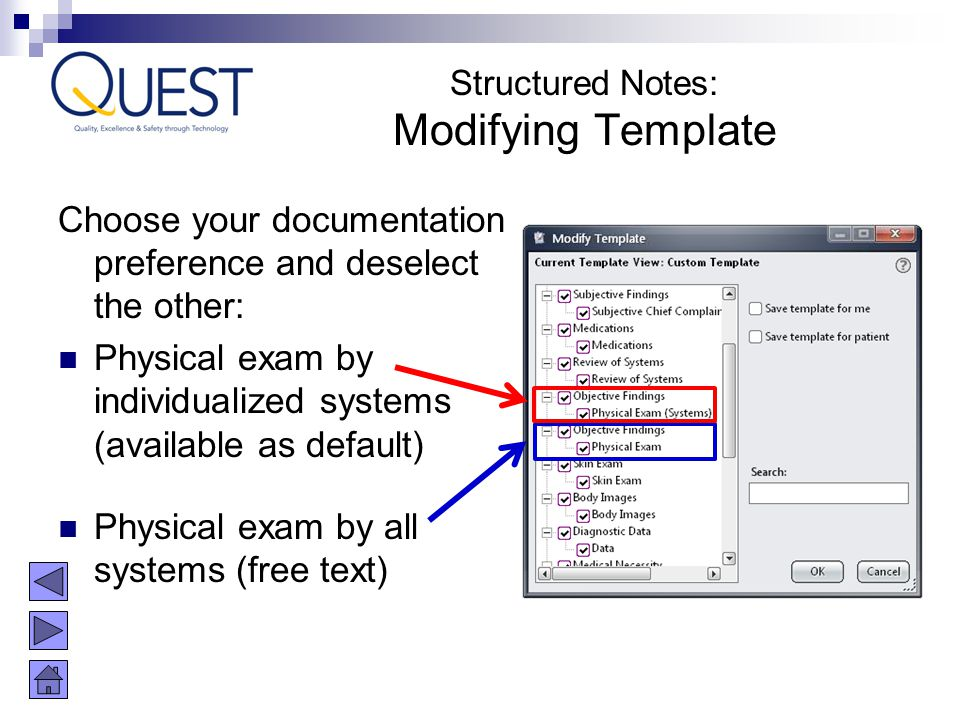 Structured Notes: Modifying Template. Choose your documentation preference and deselect the other: