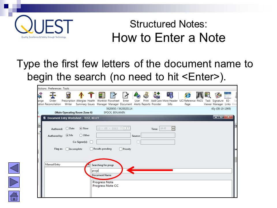 Structured Notes: How to Enter a Note.