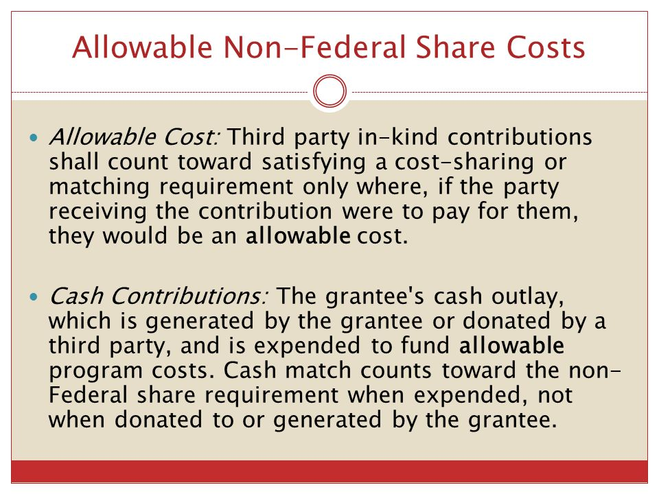 Allowable Non-Federal Share Costs
