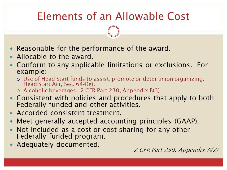 Elements of an Allowable Cost