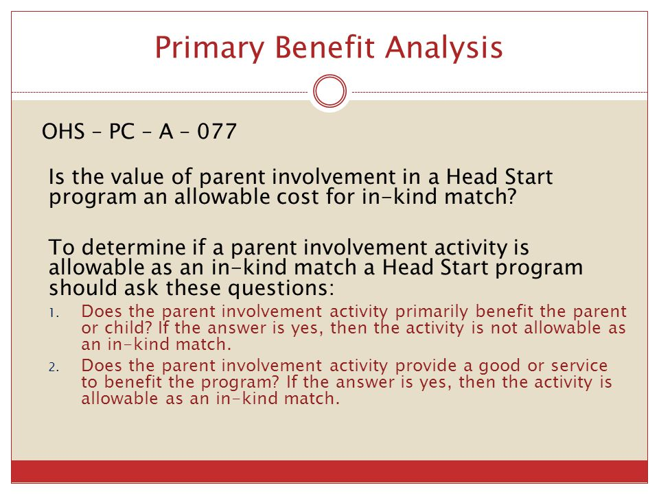Primary Benefit Analysis